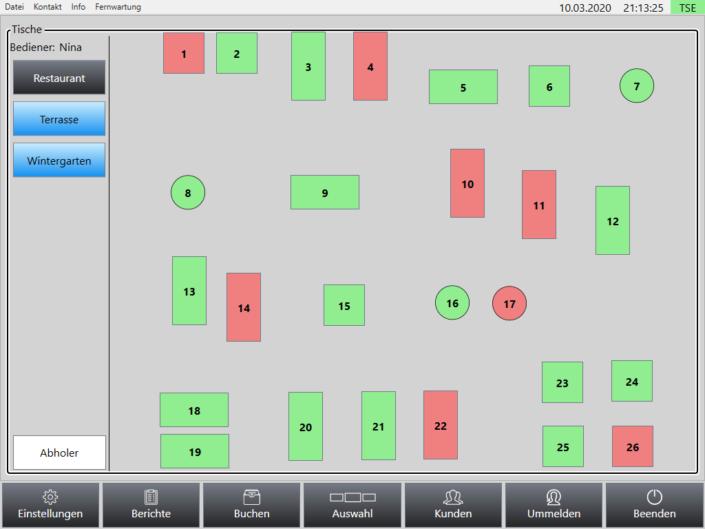 grafischer Tischplan Superpos Kassensystem Lieferservice
