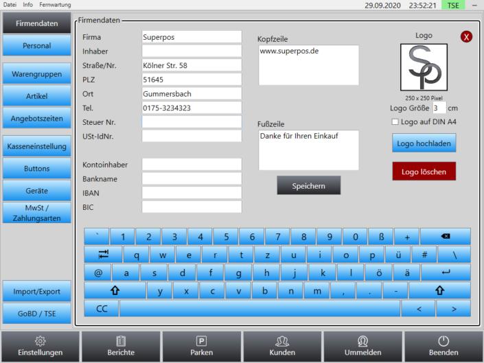 Firmendaten Superpos Kassensystem Einzelhandel