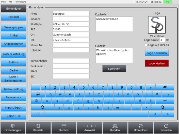 Firmendaten Superpos Kassensystem Lieferservice