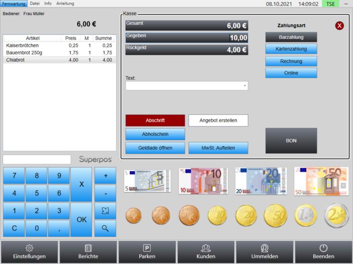 Kasse Handel Kassensystem Superpos TSE