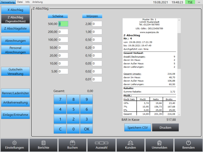 Z-Abschlag Tagesabschluss Superpos Kassensystem Lieferservice